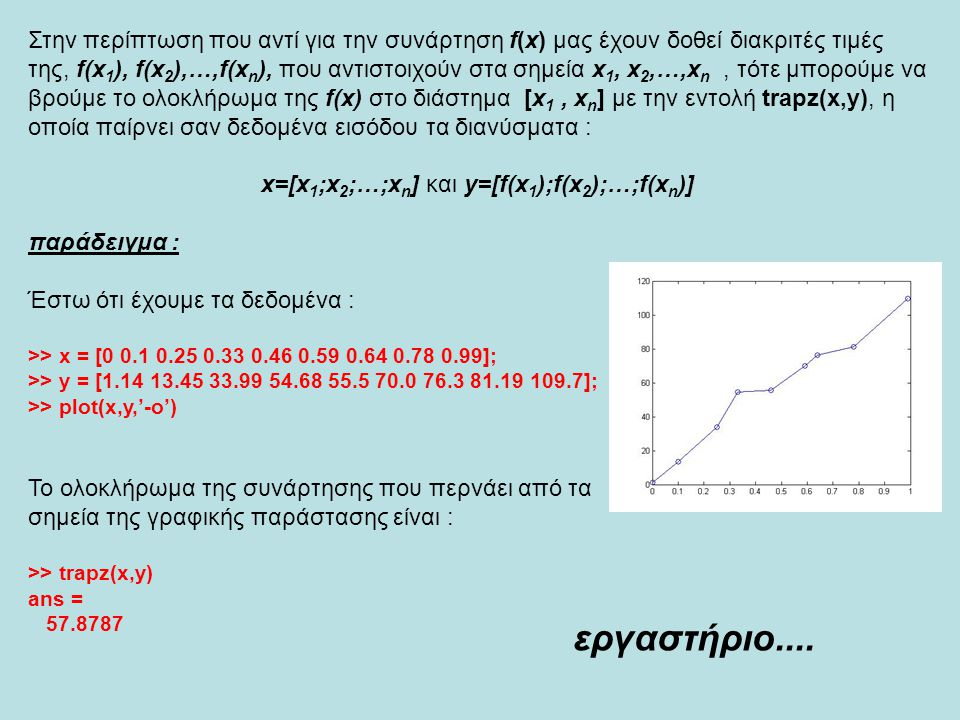 x=[x1;x2;…;xn] και y=[f(x1);f(x2);…;f(xn)]
